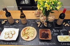 Chalk board table runner for labelling party food