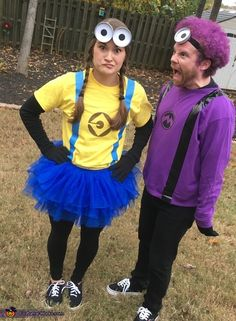 Jessica: My husband and I are wearing the costumes. I was a yellow minion and he was a purple minion. His hair is NOT a wig! We picked it out and...