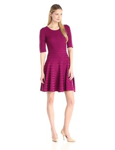 Ivanka Trump Women's Short Sleeve Fit and Flare Sweater Dress at Amazon Women's Clothing store: