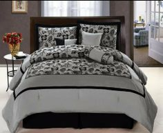 """7 Pcs Luxury Flocking Floral Satin Comforter Set Bed In A Bag Queen Silver/Black by Jaba USA. $74.99. 1 Pc Square Cushion, 1 Pc Breakfast Pillow. 1 Pc Bedskirt (60"""" x 80"""" + 14"""" Drop). 1 Pc Neckroll. 1 Pc Queen Size Comforter (86"""" x 86""""). 2 Pcs Standard Pillow Shams (20"""" x 28""""). 7 Pcs Luxury Comforter Set  This is a very attractive comforter set.  This comforter set will give your room a new look!      Style#: 20530     Condition: Brand New     Size: Queen     Design: Flora..."""
