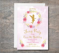 Oh Deer Invitation First Birthday Invitation Printable DIY Fairy Party Invitations, Princess Invitations, Birthday Invitations, Garden Birthday, Fairy Birthday Party, 2nd Birthday Parties, Princess Birthday, Fairy Baby Showers, Tinkerbell Party