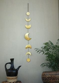 Moon Phases Wall Hanging Brass Wall Decor Moon - Crescent Moon Mobile - Moon…