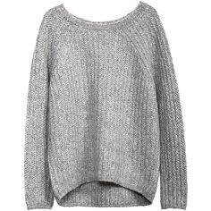 RAGLAN RIB BALLET NECK WEDGE SWEATER W/ HI LO HEM ($395) ❤ liked on Polyvore featuring tops, sweaters, shirts, jumpers, rib sweater, ribbed top, rib shirt, ballet neck sweater and raglan top