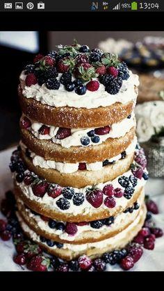 Naked wedding cake! Yummy :)