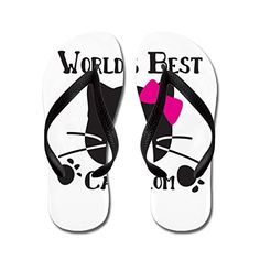 Gueskie Worlds best cat mom flip flops Adults MBlack >>> Visit the image link more details.(This is an Amazon affiliate link and I receive a commission for the sales)