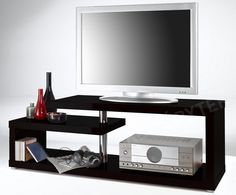 TV Stand for TVs up to Metro Lane Colour: High-gloss black Denver Tv, Beautiful Color Combinations, Colour Combinations, Tv Bench, Safety Glass, Trends, Tv Unit, Adjustable Shelving, Storage Spaces