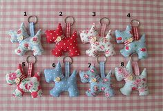 Cath Kidston Fabric Scottie Dog Key Rings/Bag Charms, Tilda Fabric Bag Charms