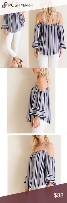 ARRIVAL! Navy striped cold shoulder top Navy striped cold shoulder top featuring trumpet sleeves and adjustable straps. Non-sheer, woven, unlined, lightweight. Material: 100% polyester. Pink Peplum Boutique Tops