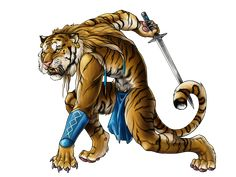An anthropomorphic tiger warrior.
