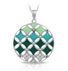 Stardust Green Pendant by Belle Etoile. Summer Fashion. Fashion Jewelry. Enamel Jewelry. Teal.