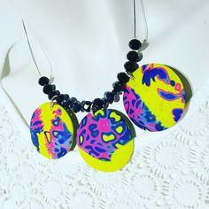 Polymer clay necklace Handmade mokume gane