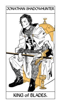 Jonathan Shadowhunter's Tarot card from the suit of Seraph Blades by Cassandra Jean. Jonathan being King since he's the father of all seraph blades.