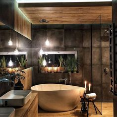 Ein Spa zu Hause ✨ Das Badezimmer ist ein intimer und privater Ort, an dem wir… A spa at home ✨ The bathroom is an intimate and private place where we … Industrial Bathroom Design, Modern Bathroom Design, Bathroom Interior Design, Bathroom Designs, Contemporary Bathrooms, Interior Ideas, Spa Interior, Restroom Design, Industrial Bedroom
