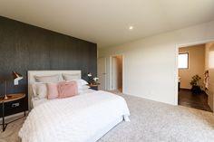 Winner of Registered Master Builders Award Bedroom Feature Wallpaper, Large Bedroom, Master Bedroom, Bedroom Inspiration, Awards, Neutral Tones, Furniture, Pink, Design