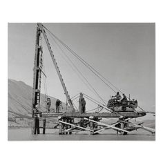Bridge Builder, Pile Driver, Locomotive Engine, Oddly Satisfying Videos, Custom Posters, Abandoned Places, Historical Photos, Custom Framing, Vintage Photos
