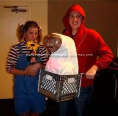 Elliot, Gertie and ET: The ET Costume was created with finding an ET mask online, then the rest was built from a milk crate, string, a curtain rod, bike handles, a drain extension