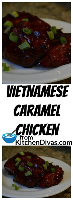 Vietnamese Caramel Chicken is easy and so good!  We usually serve it with rice and whatever vegetables we have on hand.   Delicious! #chicken #chickenthigh #recipe #food