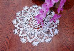 Crochet doily 13 inches Round lace doily White crochet doily Crochet table topper White lace table topper White crochet centerpiece - pinned by pin4etsy.com