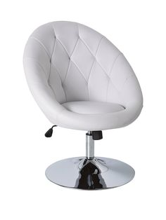 Odyssey Leisure Chair in White Contemporary seating for the most modern of homes, this Odyssey leisure chair has a chic, designer style and is upholstered in a fashionable faux leather fabric.A fresh whitecolourway will sit smartly in a range of decors, and it's detailed with a diamond stitched pattern and a large, shiny chrome base. The gas-lift mechanism allows you to adjust the height to a maximum of 98 cm.Also available in a black or blackcolour option (see item number 6U6EF). Plea...