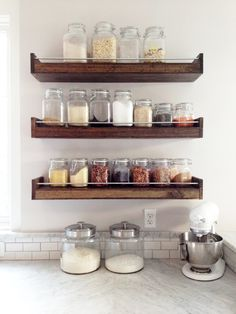 I use mason jars for my spices, so all those shallow spice racks made for teeny amounts of spices don't really work for me