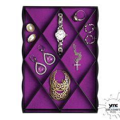Whitmor Diamond Jewelry Tray Set In Black - Beyond the Rack
