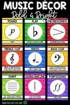 music decor Looking for beautiful and EDITABLE music decor for your music bulletin boards? This bold and bright music bulletin board BUNDLE is for you! These beautiful music posters are pe Music Word Walls, Music Words, Music Lesson Plans, Music Lessons, Piano Lessons, Music Classroom, Classroom Decor, Classroom Supplies, Classroom Rules