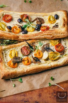 #Vegan Puff Pastry Pizza with Chanterelle Mushrooms, Oven-Roasted Baby Heirloom Tomatoes, and Victoria Vegan Artichoke Alfredo