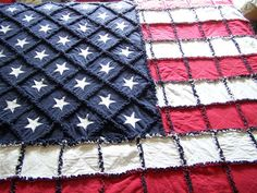 """Old Glory 50 Star USA Flag Queen/King Size Rag Quilt 84""""x104"""" Hand Made"""