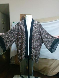 Open Front Chiffon Blouse Jacket Plus Size 3X Wide Sleeves Floral + Black Trim  | eBay