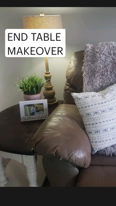 End Table Makeover, Plants Indoor, Upcycled Furniture, Seasonal Decor, End Tables, House Plants, Throw Pillows, Lifestyle, Cool Stuff
