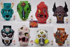 Mighty Max - Series 1 - Complete Set - Horror Heads X 8 - Bluebird Toys 1992 4
