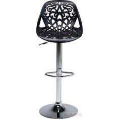#Tabouret de #bar confortable et original avec son assise et dossier aux dessins travaillés. Existe aussi en #blanc. Assise réglable.  Tabouret de Bar Ornament noir #Kare Design