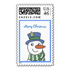 Snowman Christmas Postage Stamp Design from Stamps by Janz
