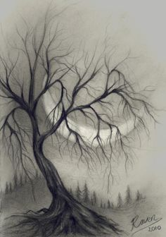 Sad Drawings, Dark Art Drawings, Art Drawings Sketches Simple, Charcoal Drawings, Abstract Charcoal Art, Charcoal Sketch, Drawing Ideas, Pencil Sketches Landscape, Landscape Drawings