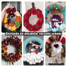 Ghirlande all´uncinetto: raccolta schemi – Uncinetto&nonSolo Burlap Wreath, Free Pattern, Wreaths, Knitting, Crochet, Christmas, Crafts, Door Hangings, Amigurumi
