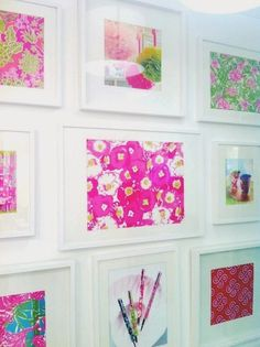 Lilly print gallery wall.