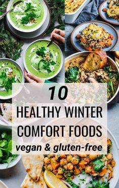 A roundup of my favorite feel-good comfort foods, this list of 10 Healthy Vegan Comfort Foods for Winter will become a go-to resource for you during the winter months! Full of healthy vegan and gluten-free recipes that are still comforting and delicious. Winter Dinner Recipes, Vegan Dinner Recipes, Vegan Dinners, Whole Food Recipes, Healthy Winter Recipes, Free Recipes, Winter Meals, Snack Recipes, Vegan Comfort Food