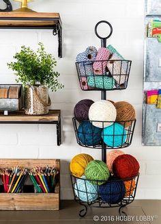 ideas for craft organization yarn sewing rooms Craft Room Storage, Diy Storage, Hidden Storage, Knitting Room, Knitting Storage, Knitting Needles, Knitting Yarn, Yarn Display, Yarn Organization