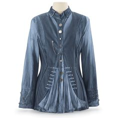 Steampunk Denim Blue Jacket - Women's Clothing & Symbolic Jewelry – Sexy, Fantasy, Romantic Fashions