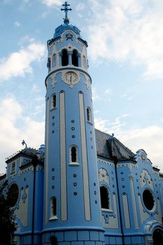 Church of St. Elizabeth, Bratislava, Slovakia I love the color. Europe Centrale, Houses Of The Holy, Bratislava Slovakia, Cathedral Church, Central Europe, Place Of Worship, Beautiful Buildings, Kirchen, Eastern Europe