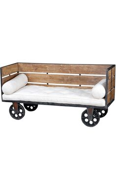 industrial day bed on wheels...maybe build a version of this for under the den window for the Mutts...then maybe they won't yearn for my couch!!