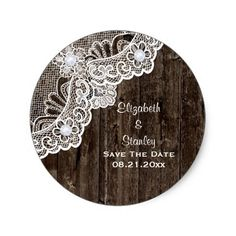 Lace Wedding Save the Date Vintage white lace, old wood wedding Save the Date Classic Round Sticker