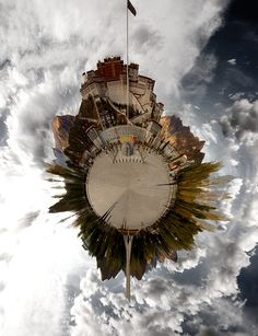 """Potala Planet"" The Potala Palace, home of the Dalai Lamas, shown using a 360 degree panorama taken from the Potala Palace square in the evening. Places Around The World, Around The Worlds, Om Mani Padme Hum, Lhasa, Bhutan, Travel Design, Asia Travel, Outdoor Travel, Art And Architecture"