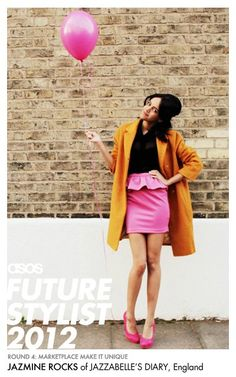 """Jazmine is wearing an item from The Whitepepper, available at ASOS Marketplace - https://marketplace.asos.com/boutique/the-whitepepper    """"Styling is as much about the props as it is the clothes, so I couldn't resist parading about in a pretty pink peplum skirt, heels and a matching balloon!"""""""