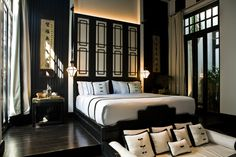 The Siam Hotel in #Bangkok is nothing but classy, chic and luxurious. This pool villa decorated in black and white accents is equipped with a king bed, couch and direct access to the pool-what more do you need?!