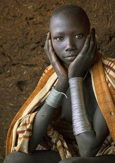 Africa | Masuli, Suri teenager girl, Kibish, Omo valley, Ethiopia