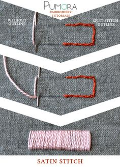 Pumora's embroidery stitch lexicon: satin stitch tutorial
