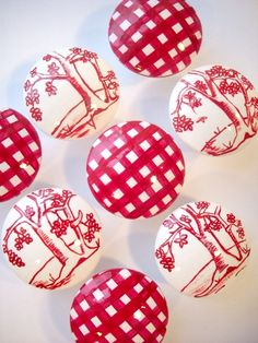 Red Gingham and Toile Hand Painted Drawer Knobs