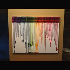 Our rendition of the Melted crayon canvas art.  We made ours in front of the wood stove, melted fast...use a drop cloth!