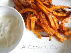 A Cook's Quest: Chipotle Sweet Potato Fries with Garlic Aioli Dipping Sauce